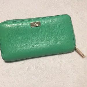 Green Kate spade zip full size wallet
